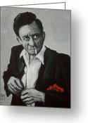 Music Icon Greeting Cards - Smokin Johnny Greeting Card by Pete Maier
