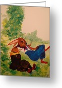Nursury Greeting Cards - Smokin Greeting Card by Lynn Beazley Blair