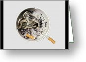 Pollute Greeting Cards - Smoking also kills your pocket and fills the bureaucrats Greeting Card by Juan Carlos Ferro Duque