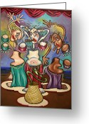 Horns Painting Greeting Cards - Smoking Belly Dancers Greeting Card by Anthony Falbo