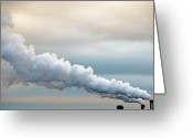 Factory Greeting Cards - Smoking In The Clouds Greeting Card by Jane Kerrigan