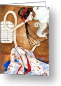 Other World Greeting Cards - Smoking Siren Greeting Card by Rachel Walker