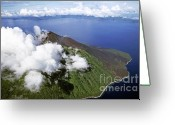 Peak One Greeting Cards - Smoking volcano of Lopevi Island in Vanuatu Greeting Card by Sami Sarkis
