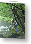 Marty Koch Greeting Cards - Smoky Mountain Angler Greeting Card by Marty Koch
