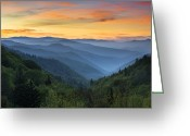 Scenic Greeting Cards - Smoky Mountains Sunrise - Great Smoky Mountains National Park Greeting Card by Dave Allen
