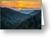 Smoky Mountains Greeting Cards - Smoky Mountains Sunset - Great Smoky Mountains Gatlinburg TN Greeting Card by Dave Allen