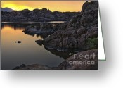Watson Lake Greeting Cards - Smoky Sunset on Watson Lake Greeting Card by Dave Dilli