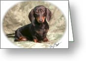 Smooth-coat Digital Art Greeting Cards - Smooth Dachshund Doxie pup Greeting Card by Maxine Bochnia