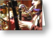 Grooving Greeting Cards - Smooth Sax Greeting Card by Richard Mansfield