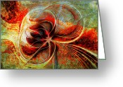 Aflame Greeting Cards - Smouldering Greeting Card by Amanda Moore