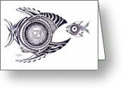 Geometrical Art Painting Greeting Cards - Snack Fish Greeting Card by J Vincent Scarpace