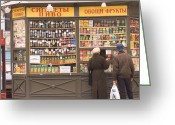 Cyrillic Greeting Cards - Snacks And Drinks Are Sold From A Kiosk Greeting Card by Richard Nowitz