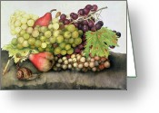Pre-19thc Greeting Cards - Snail with Grapes and Pears Greeting Card by Giovanna Garzoni