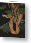 Jungle Snake Greeting Cards - Snake of No Kind Greeting Card by Karen-Lee