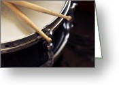 Drum Sticks Greeting Cards - Snare Drum and Sticks Art Greeting Card by Rebecca Brittain