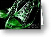 Converse Greeting Cards - Sneakers - Electrified - Green Greeting Card by Wingsdomain Art and Photography