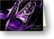 Sneakers Greeting Cards - Sneakers - Electrified - Purple Greeting Card by Wingsdomain Art and Photography