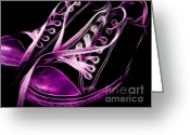 Sneakers Greeting Cards - Sneakers - Electrified - Violet Greeting Card by Wingsdomain Art and Photography
