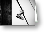 Telephone Pole Greeting Cards - Sneakers on Power Line Greeting Card by Bill Cannon