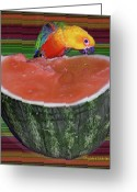 Crayons Greeting Cards - Sneaking a Bite Greeting Card by DigiArt Diaries by Vicky Browning