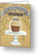 Kitchen Decor Greeting Cards - Snickerdoodle Cupcake Greeting Card by Catherine Holman