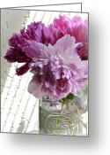 Pink Peonies Greeting Cards - Snickerhaus Peonies in a Vase Greeting Card by Christine Belt