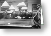 Cue Ball Greeting Cards - Snooker Cat Greeting Card by MacGregor