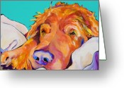 Pet Portraits Greeting Cards - Snoozer King Greeting Card by Pat Saunders-White            