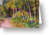 Woods Pastels Greeting Cards - Snoqualmie Trail Greeting Card by Mary McInnis