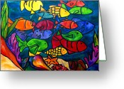 Aquarium Painting Greeting Cards - Snorkeling Off Norman Island Greeting Card by Patti Schermerhorn