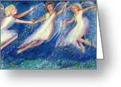 Spiritual Pastels Greeting Cards - Snow angels Greeting Card by Laurie Parker