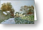 Slush Greeting Cards - Snow at Argenteuil Greeting Card by Claude Monet