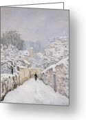 Path Greeting Cards - Snow at Louveciennes Greeting Card by Alfred Sisley