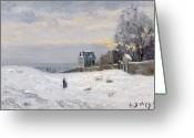 Signed Greeting Cards - Snow at Montmartre Greeting Card by Hippolyte Camille Delpy