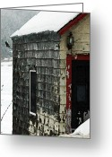 Barn Mixed Media Greeting Cards - Snow Barn  Greeting Card by AdSpice Studios