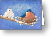 Friend Digital Art Greeting Cards - Snow Bird 2 Greeting Card by CarrieAnn Reda