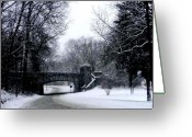Usa Pyrography Greeting Cards - Snow Blizzard - Rock Creek Parkway Washington DC Greeting Card by Fareeha Khawaja
