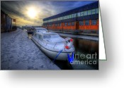 Sunset Framed Prints Greeting Cards - Snow Boat 1.0 Greeting Card by Yhun Suarez