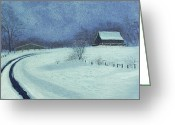 Old Barn Pastels Greeting Cards - Snow Bound Greeting Card by Garry McMichael