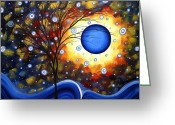 Dark Brown Greeting Cards - Snow Burst Cirlce of Life Painting MADART Greeting Card by Megan Duncanson