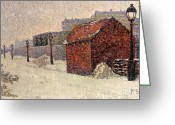 Signed Greeting Cards - Snow Butte Montmartre Greeting Card by Paul Signac