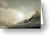 Storm Prints Greeting Cards - Snow Capped Banff Greeting Card by Andrea Hazel Ihlefeld