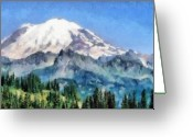 Pen Pastels Greeting Cards - Snow Capped Mountain Greeting Card by Russ Harris
