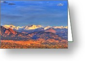 Snow Capped Photo Greeting Cards - Snow-capped Panorama of The Rockies Greeting Card by Scott Mahon