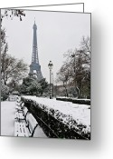 Tranquility Greeting Cards - Snow Carpets Benches And Eiffel Tower Greeting Card by Jade and Bertrand Maitre