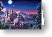 Featured Artist Painting Greeting Cards - Snow Castle Greeting Card by David Lloyd Glover