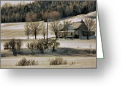 Contry Greeting Cards - Snow contry Greeting Card by Gaston Quirion