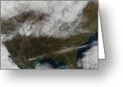 Southern Indiana Greeting Cards - Snow Cover Stretching From Northeastern Greeting Card by Stocktrek Images