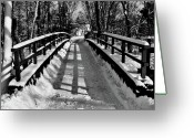 Covered Bridge Painting Greeting Cards - Snow Covered Bridge Greeting Card by Daniel Carvalho