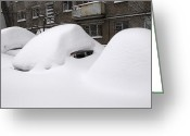 Immobile Greeting Cards - Snow-covered Cars In A City Greeting Card by Ria Novosti